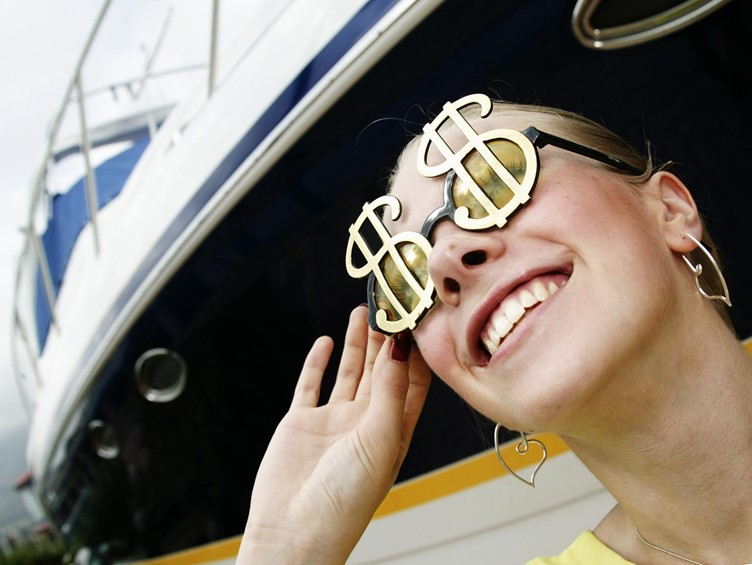 Girl happy with overdraft option